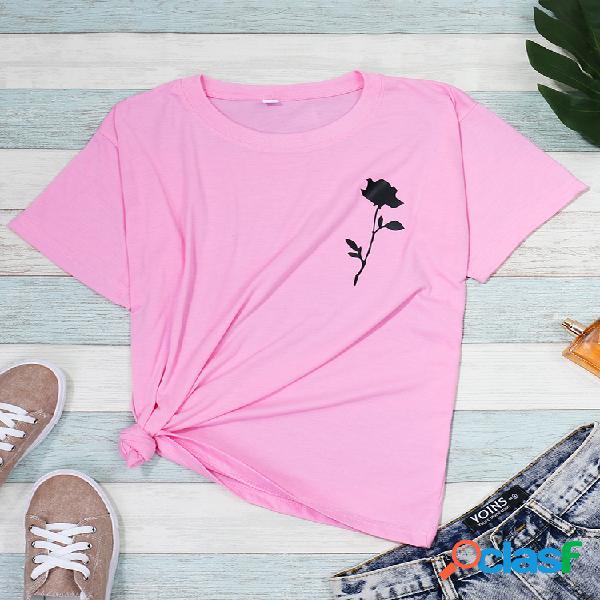 Camisetas com estampa floral de manga curta csaual o-neck