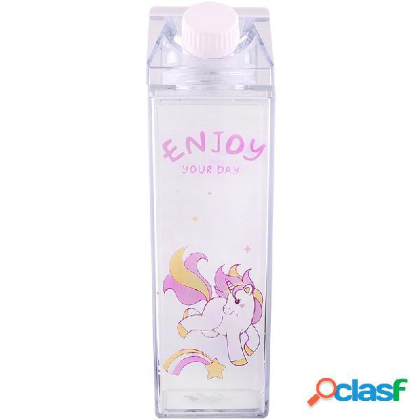 Copo portátil novidade leite em forma de caixa dos desenhos animados unicórnio impresso garrafa de água