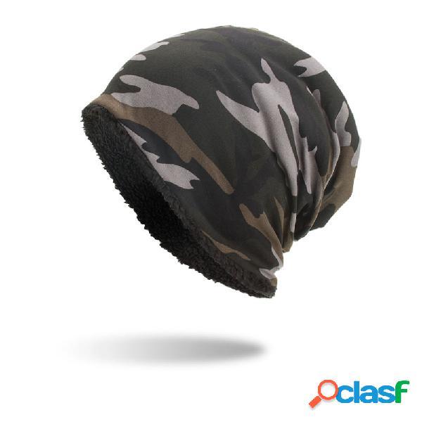 Mens camuflagem de veludo de algodão chapéu de malha quente bom elástico chapéu de inverno ao ar livre ocasional gorro