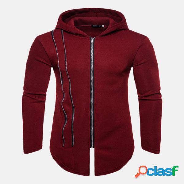 Mens hoodies moletom com capuz de lã polar mais quente elegante manga longa bainha zip up com capuz tops jaqueta