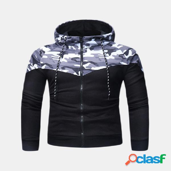 Mens respirável camo patchwork hoodies algodão com cordão chapéu casual sport running tops camisola
