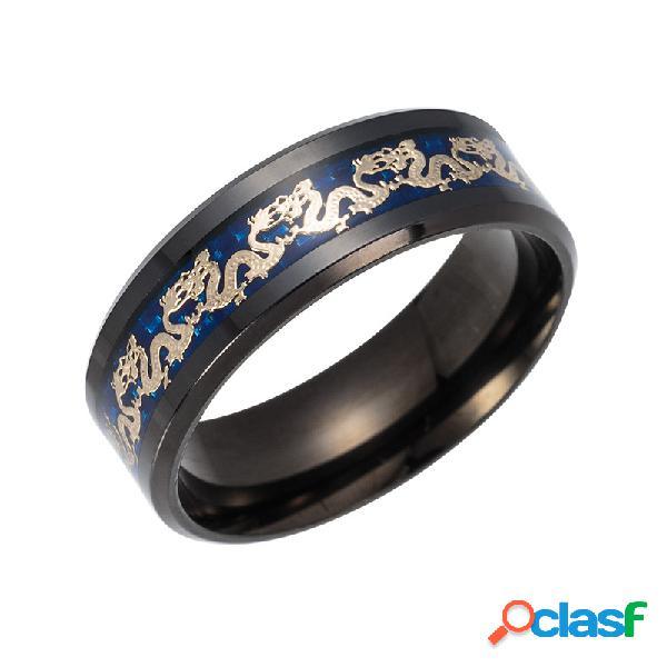 Anéis de dedo do vintage chinês dragão padrão titanium aço anéis de dedo étnica jewerly para homens