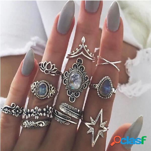 Anel de dedo vintage joia estrelada folhas flor borboleta conjunto de anéis de junta joias da moda para mulheres