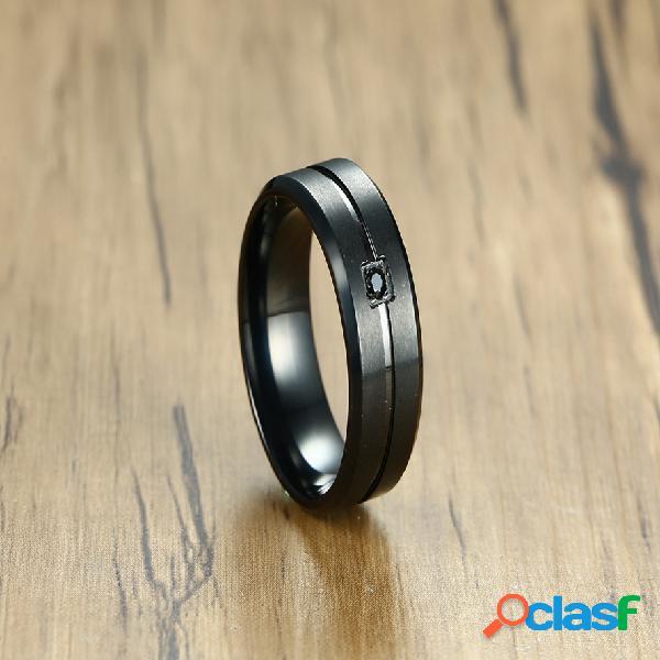 Moda anéis de dedo ip chapeamento preto de aço inoxidável cubic zirconia anéis causal jóias para homens