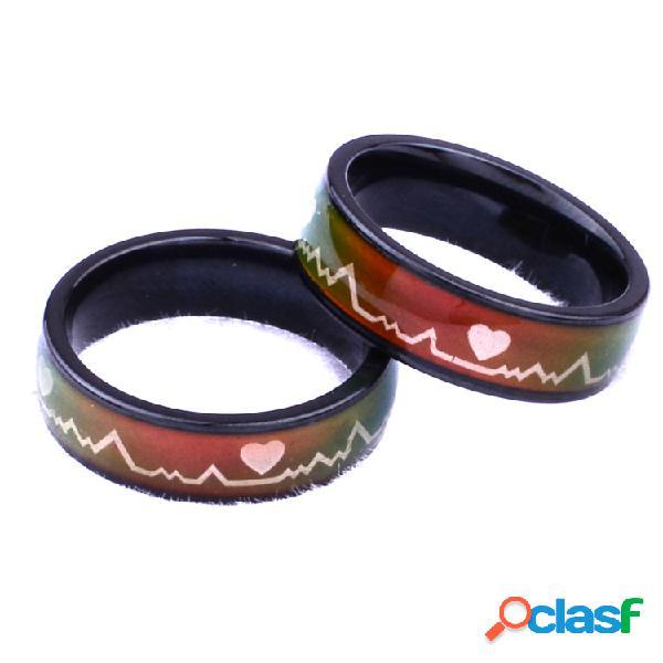 Moda dedo casal anéis de titânio aço descoloração temperatura sensoriamento cardiograma anéis para casal