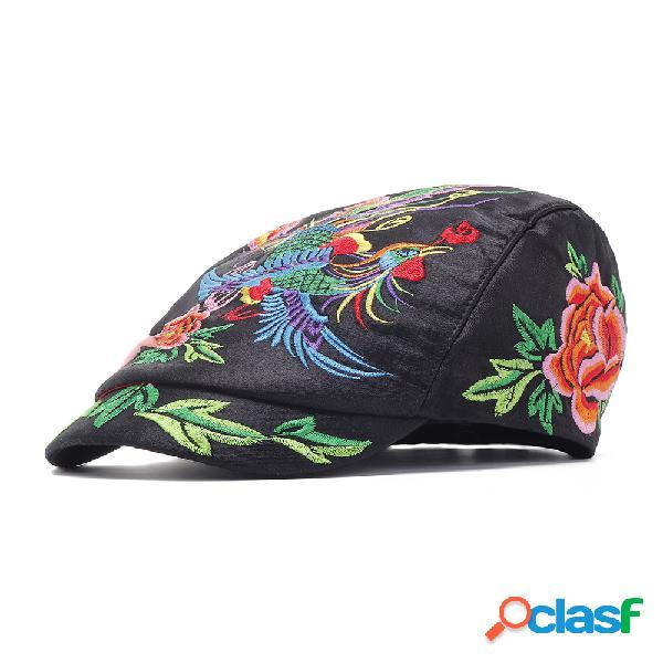 Mulheres bordado estilo nacional sol chapéu vintage boina ajustável respirável