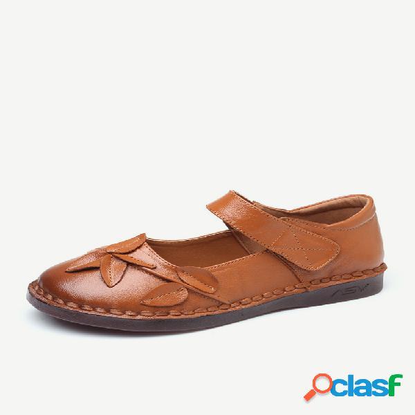 Tamanho grande mulheres casuais soft flor de couro gancho loop sapatos baixos