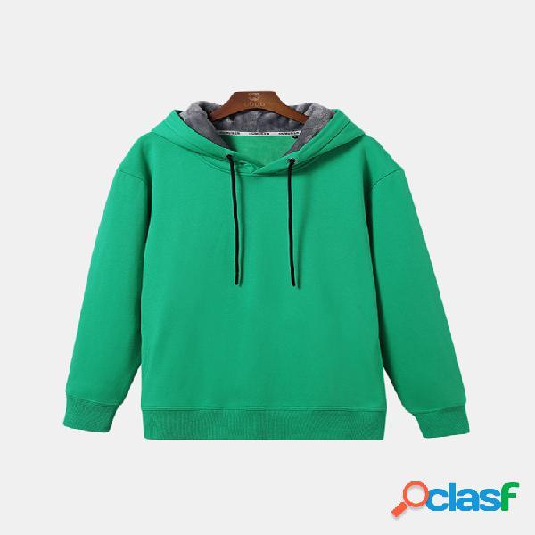 Tops com capuz com cordão dos homens engrossar quente cor sólida hoodies casuais pulôver do esporte
