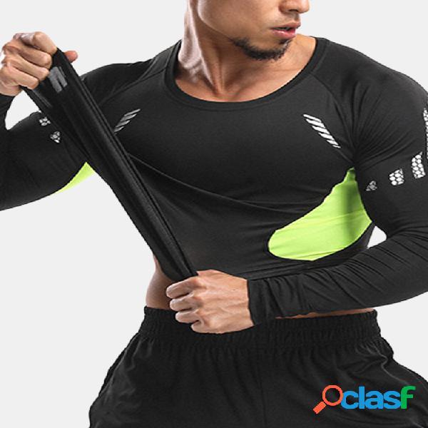 Mens elastic quick-secagem respirável sports running training manga comprida casual skinny tops