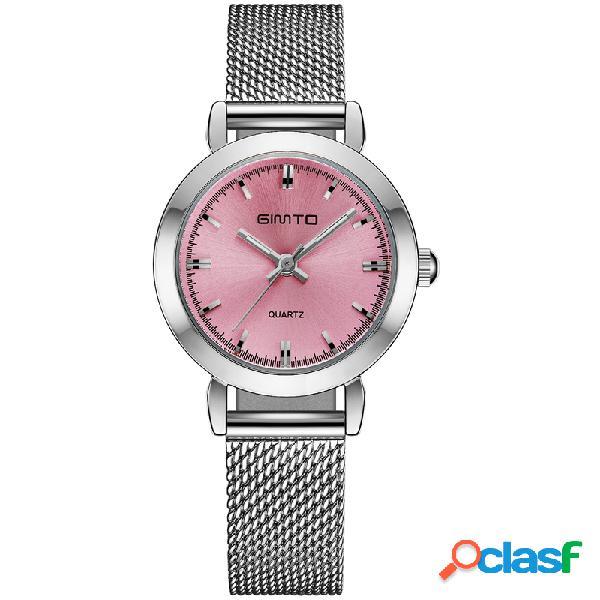 Moda quartzo relógio de pulso aço inoxidável estrutura fina cinta de malha nenhum número relógios de discagem para as mulheres