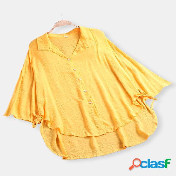 Blusa de manga comprida irregular de cor sólida vintage