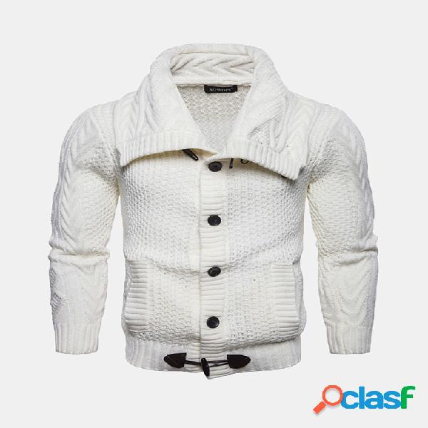 Mens casual knit flexível respirável botões camisola de qualidade de cor sólida