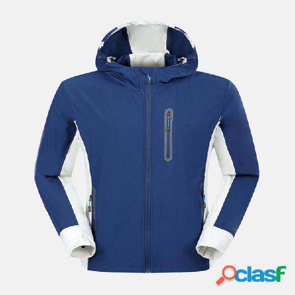 Mens patchwork com capuz à prova d 'água de secagem rápida respirável soft shell sport casaco casual ao ar livre