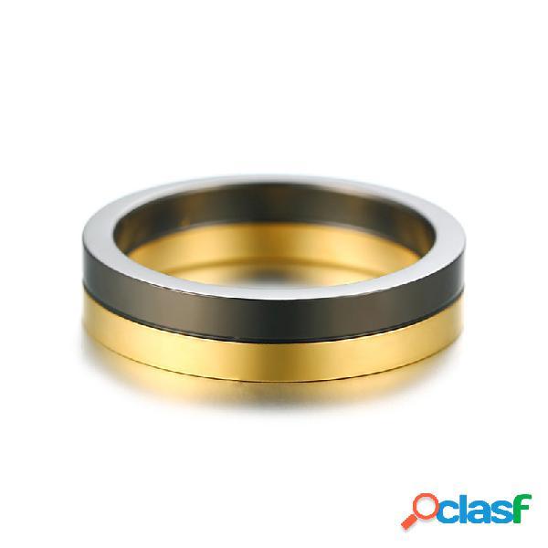 Moda anel de dedo preto e ouro classe de aço inoxidável anéis jóias na moda para homens