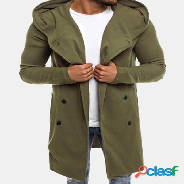 Casual mid comprimento double breasted respirável cor sólida hoodies de manga longa
