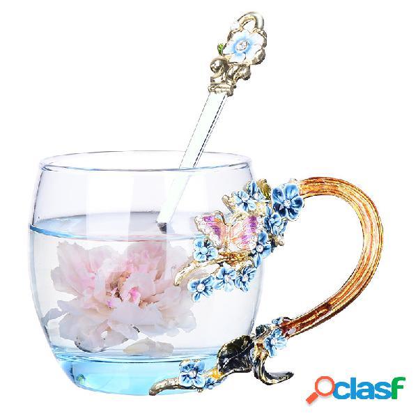 Esmalte flor xícara de chá requintado caneca de café artesanato artesanato presentes de natal
