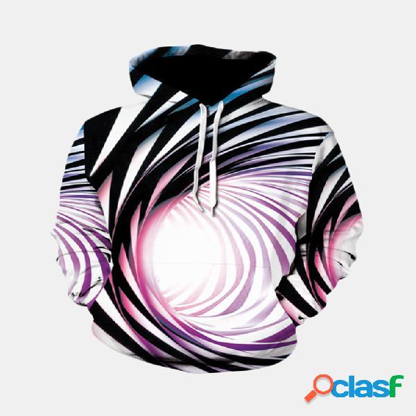 3d abstract padrão big bolso manga comprida solta com capuz para homens