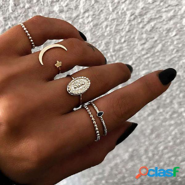 Anéis de dedo boêmio set 5 pcs lua estrela abrir fechar anéis bijuterias para as mulheres