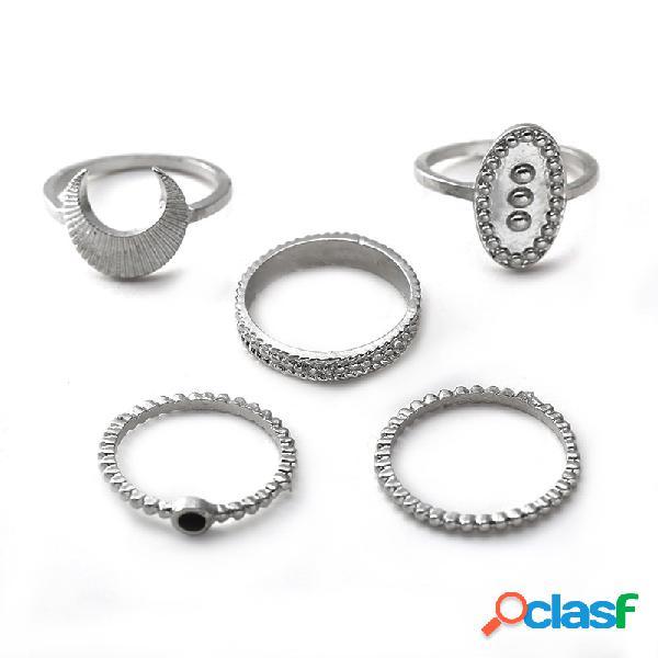 Anéis de dedo boêmio set 5 pcs lua oval escudo anéis bijuterias para as mulheres