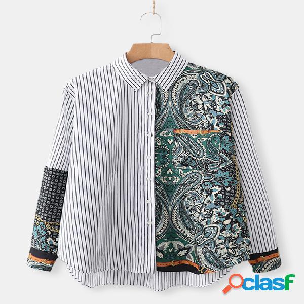 Casual patchwork listrado impresso camisa para mulheres