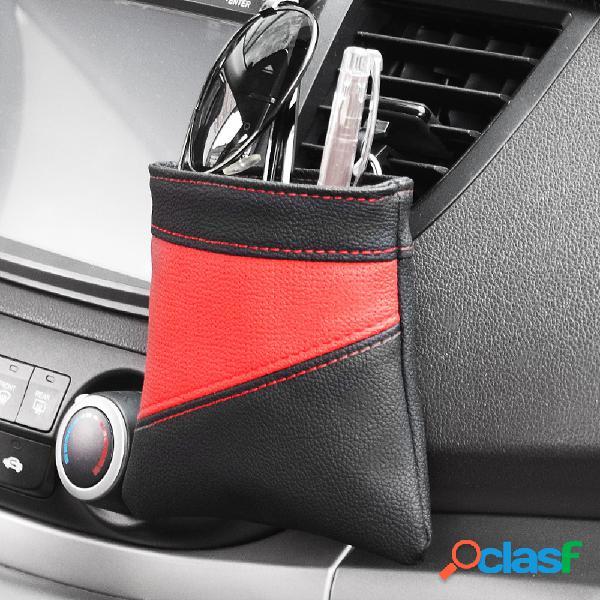 Couro carro ventilador de armazenamento bolsa suporte de telefone diversos balde de armazenamento pendurado bolsa de bolso