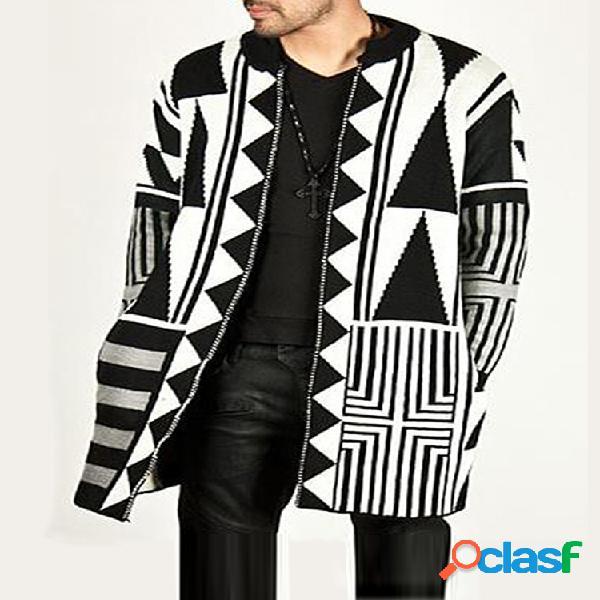 Masculino preto cinza branco patchwork estilo meio longo moda casual cardigans de malha