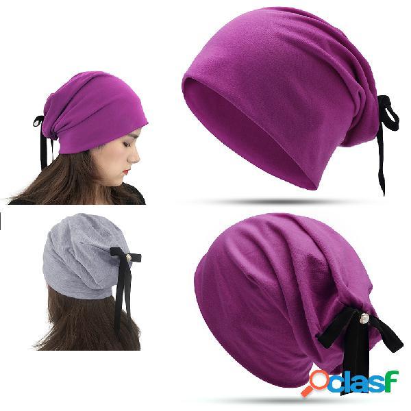 Mulheres bow turban chapéu streamer casual selvagem pérola quente chapéu algodão ao ar livre à prova de vento chapéu