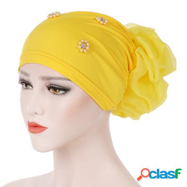Mulheres pan flor chapéu oversized com lenço de flor gorros chapéu cor sólida frisada de algodão cap