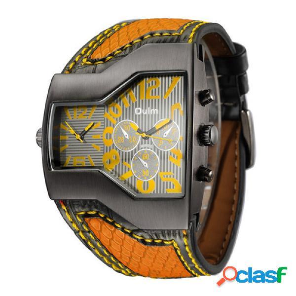 Relógio de pulso esportivo de quartzo de dois movimentos grande relógio pulseira de couro para homens