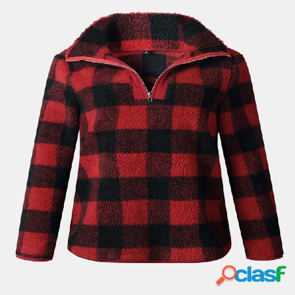 Blusa de lã com gola blusa de manga longa com gola