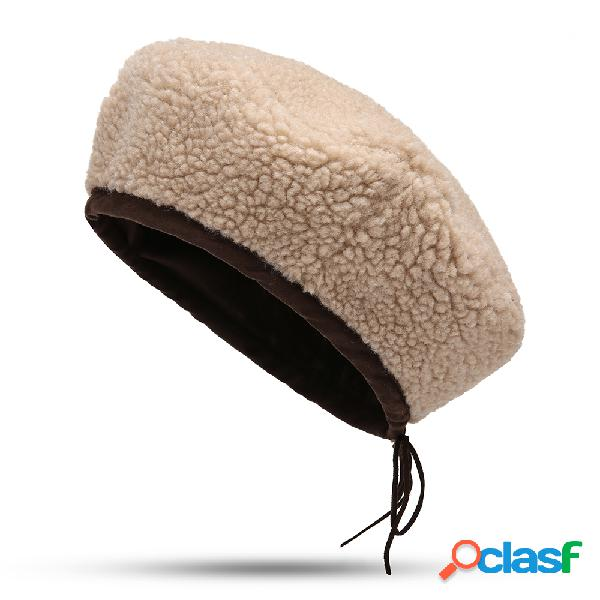 Mulheres inverno boina de lã quente chapéu pintor de lã ocasional do vintage chapéu ao ar livre à prova de vento chapéu