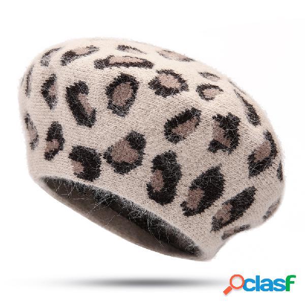 Mulheres inverno leopardo vintage pintor boina chapéu abóbora chapéu ao ar livre quente à prova de vento quente chapéu