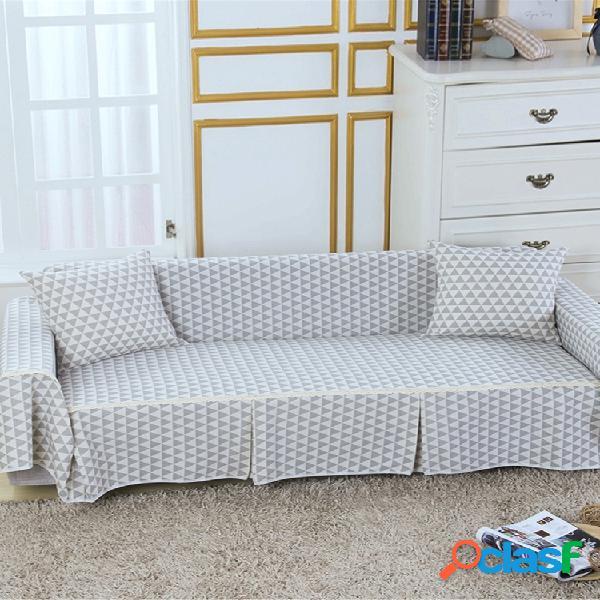 Capa de sofá de linho de algodão 1/2/3 lugares cinza azul flor impressa capa de assento de sofá lavável e rápida