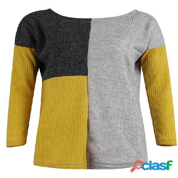 Casual patchwork loose gola manga longa camisola