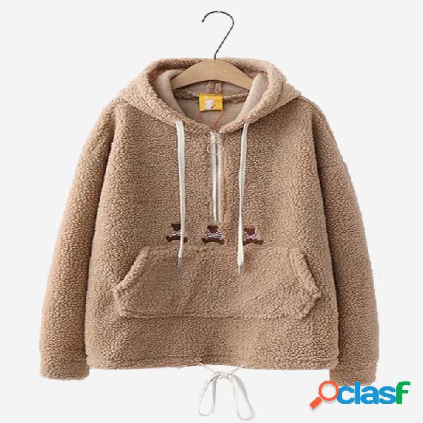 Cor sólida espessa quente camisola com capuz
