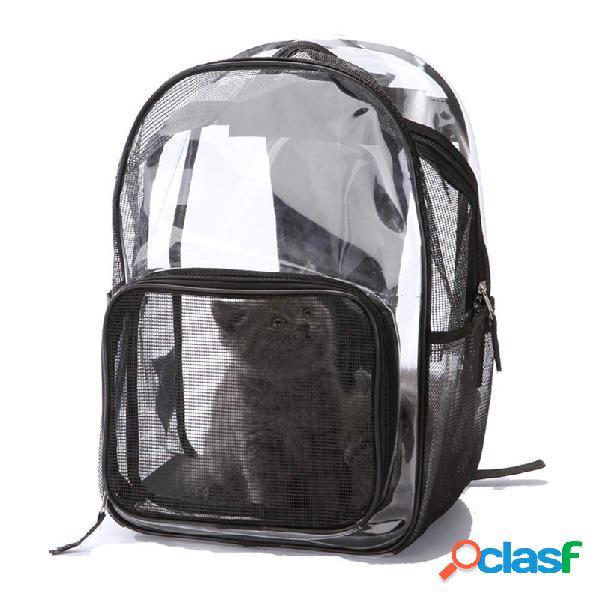 Transparente pet carrier bag moda transportando cat dog filhote de cachorro comfort travel outdoor shoulder backpack