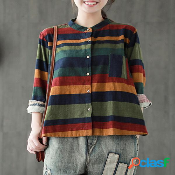 Blusa multicolor listrada manga comprida irregular vintage