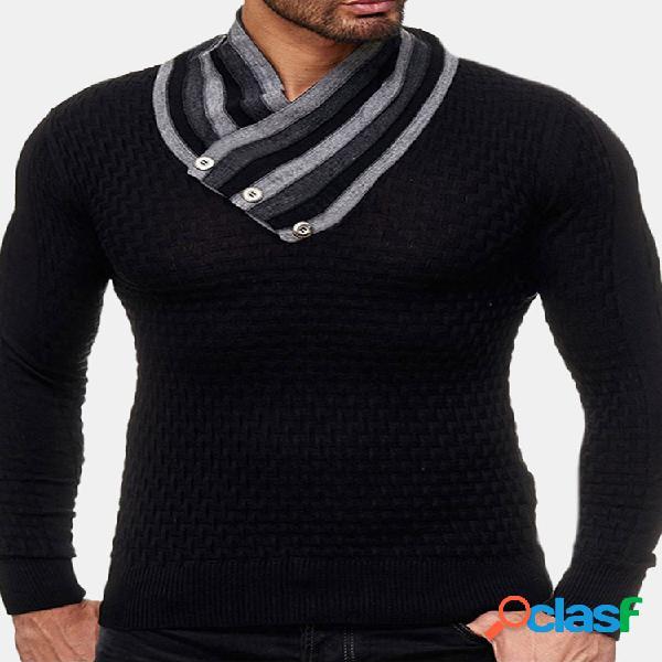 Camisola de malha de gola alta de manga comprida masculina camisola preta básica casual