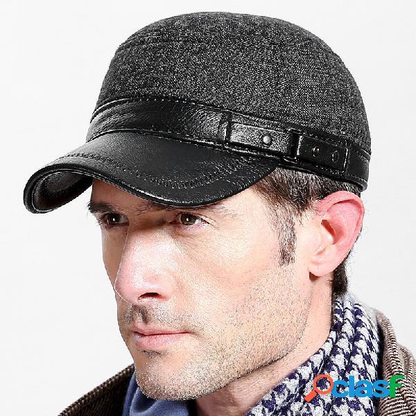 Homens inverno quente de couro cabeludo plana chapéu manter orelha moda vintage quente ao ar livre casual tampão