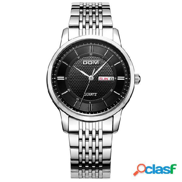 O quartzo do estilo do negócio olha o relógio de aço inoxidável impermeável da tira do relógio de pulso dos homens
