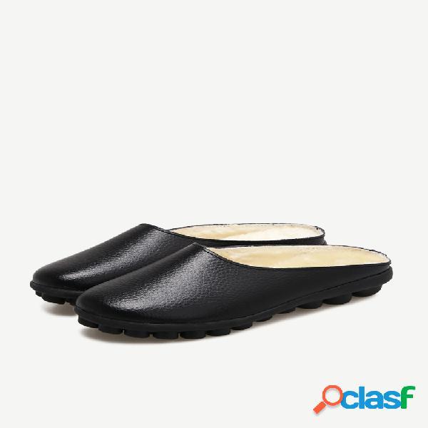Botas de couro soft com sola quente e sem encosto