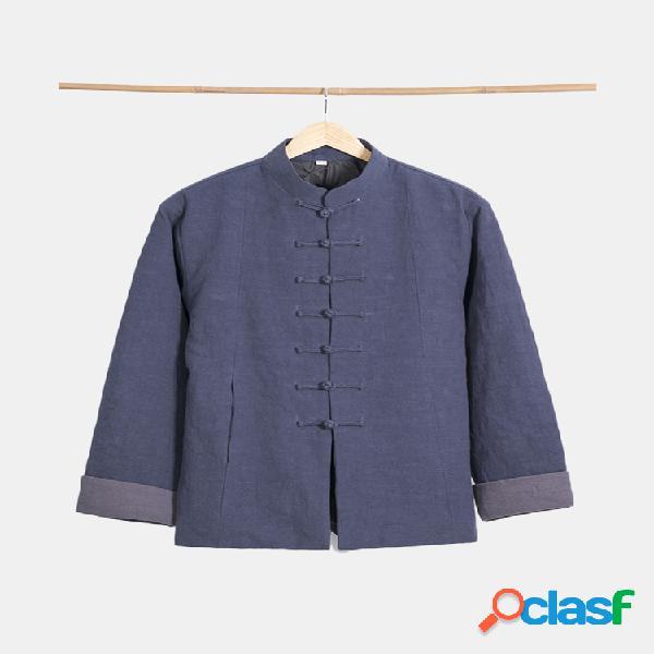 Mens algodão linho de meia idade nacional estilo manga comprida solta casual botões jacket