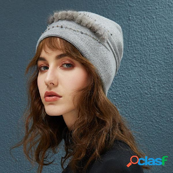 Mulheres algodão quente beanie cor sólida chapéu outdoor casual windproof orelha proteção chapéu