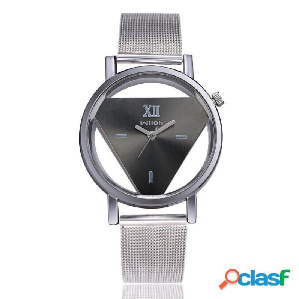 Relógio fashion triângulo de quartzo dupla face oco relógio feminino de aço inoxidável