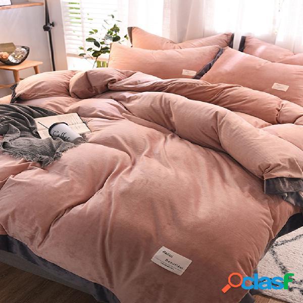 Conjuntos de cama de veludo de cristal simples de 4 unidades de cor sólida colcha de flanela dupla face king size