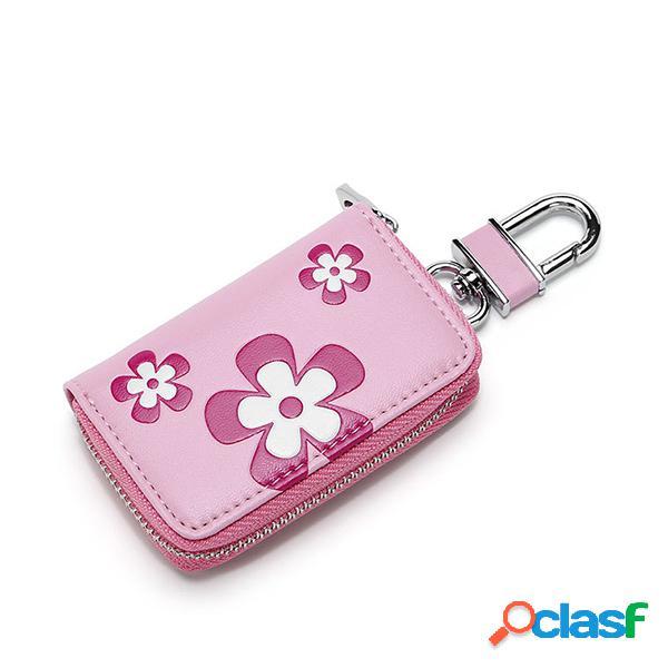 Couro floral das mulheres que guarda o armazenamento ocasional bolsa do suporte da chave do carro do plutônio