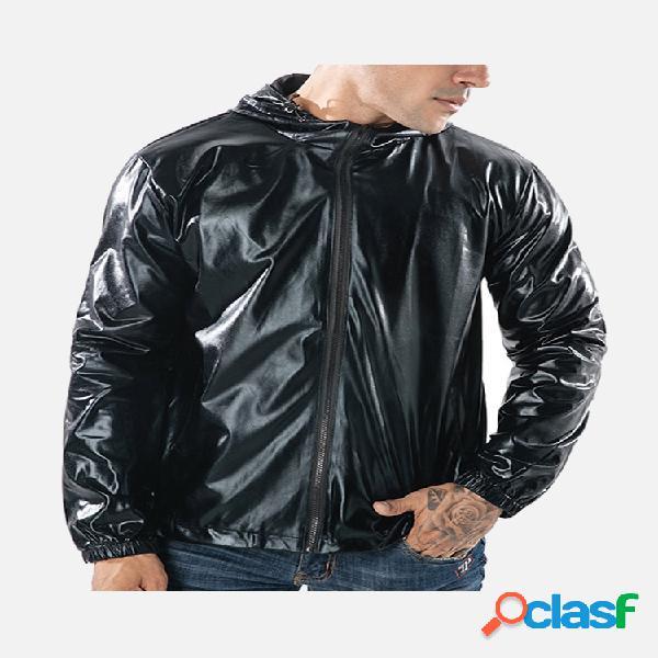 Mens moda reflexivo com zíper cordão com zíper design cor sólida casaco com capuz casuais