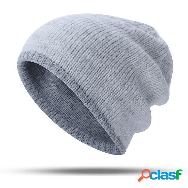 Mulheres homens quente gorro de malha chapéu desgaste ao ar livre à prova de vento casuais dupla-face orelha quente chapéu
