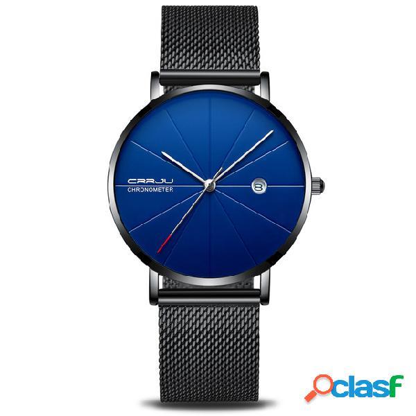 Relógio de aço completo análogo de quartzo da exposição da data do relógio de pulso dos homens do estilo do negócio