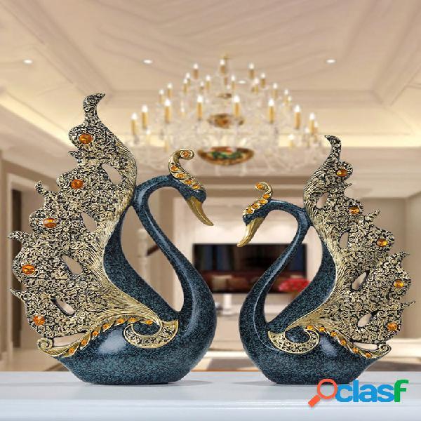 2 unidades de resina de luxo europeia swan ornamento decoração para casa artesanato tv gabinete estátuas de escritório